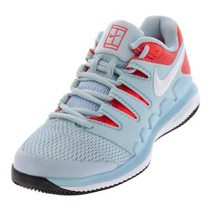 Women`s Air Zoom Vapor X Tennis Shoes Still Blue and White