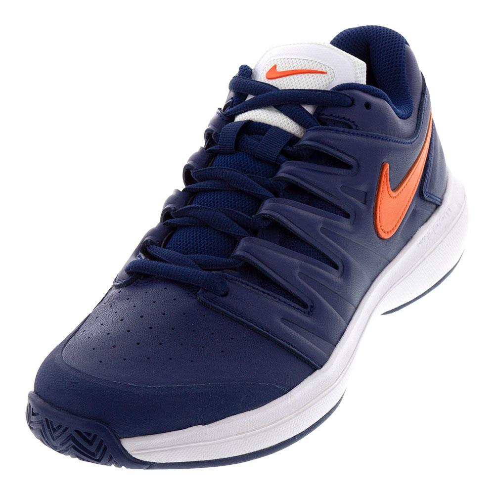 NIKE NIKE Men s Air Zoom Prestige Leather Tennis Shoes Blue Void And Orange  Blaze d9a1d31f9