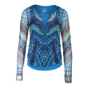 Women`s Boho Sense Mesh Overlay Long Sleeve Tennis Top Print