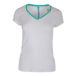 Women`s Uplift Short Sleeve Tennis Top White and Paradise Blue