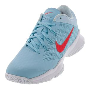 Women`s Air Zoom Ultra Tennis Shoes Still Blue and Bright Crimson