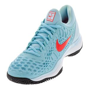 Women`s Zoom Cage 3 Tennis Shoes Still Blue and Bright Crimson