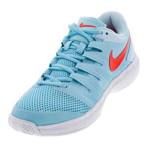 Women`s Air Zoom Prestige Tennis Shoes Still Blue and Bright Crimson