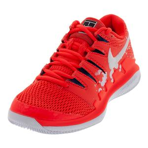 Women`s Air Zoom Vapor X Premium Tennis Shoes Bright Crimson and White
