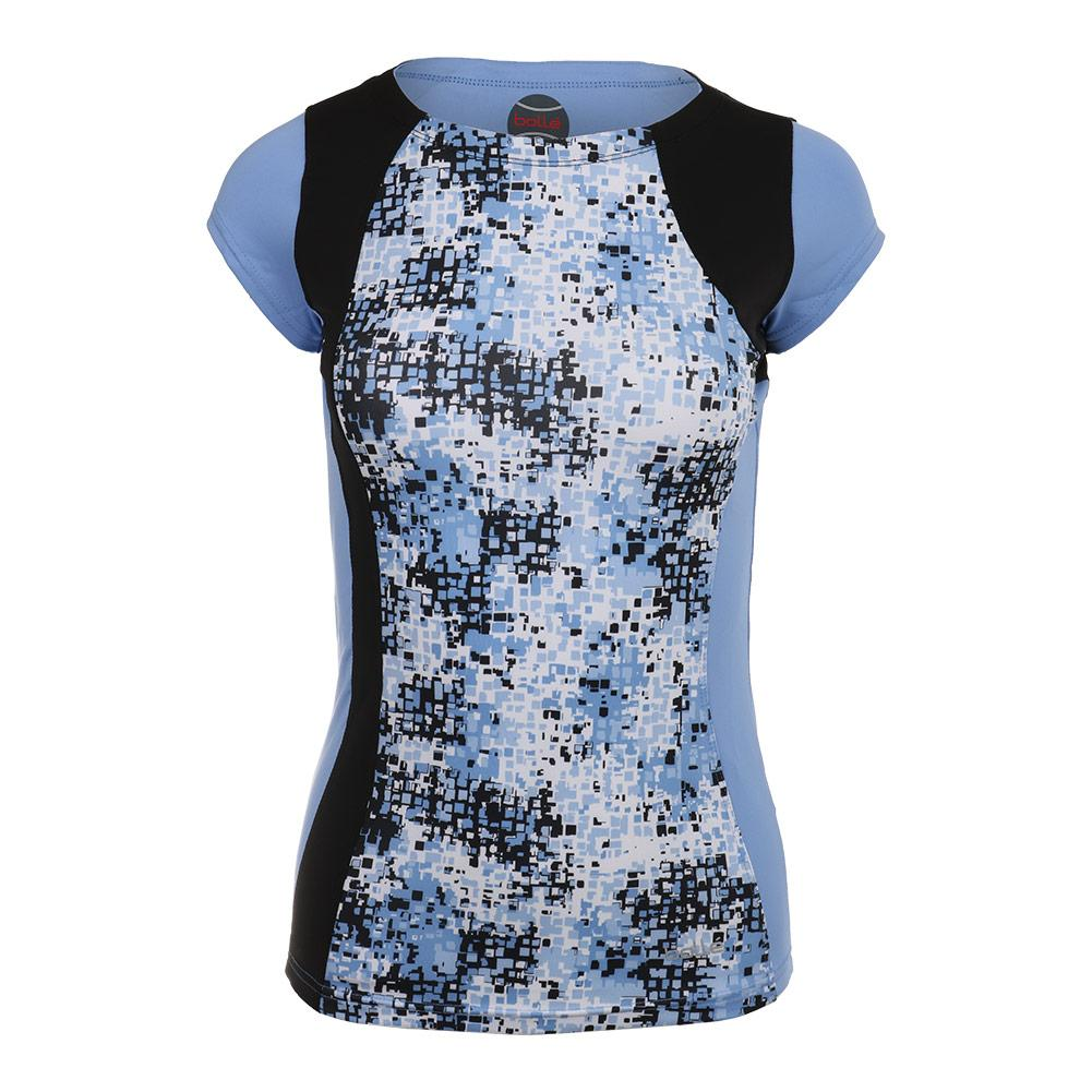 Women's High Resolution Cap Sleeve Tennis Top Print And Periwinkle