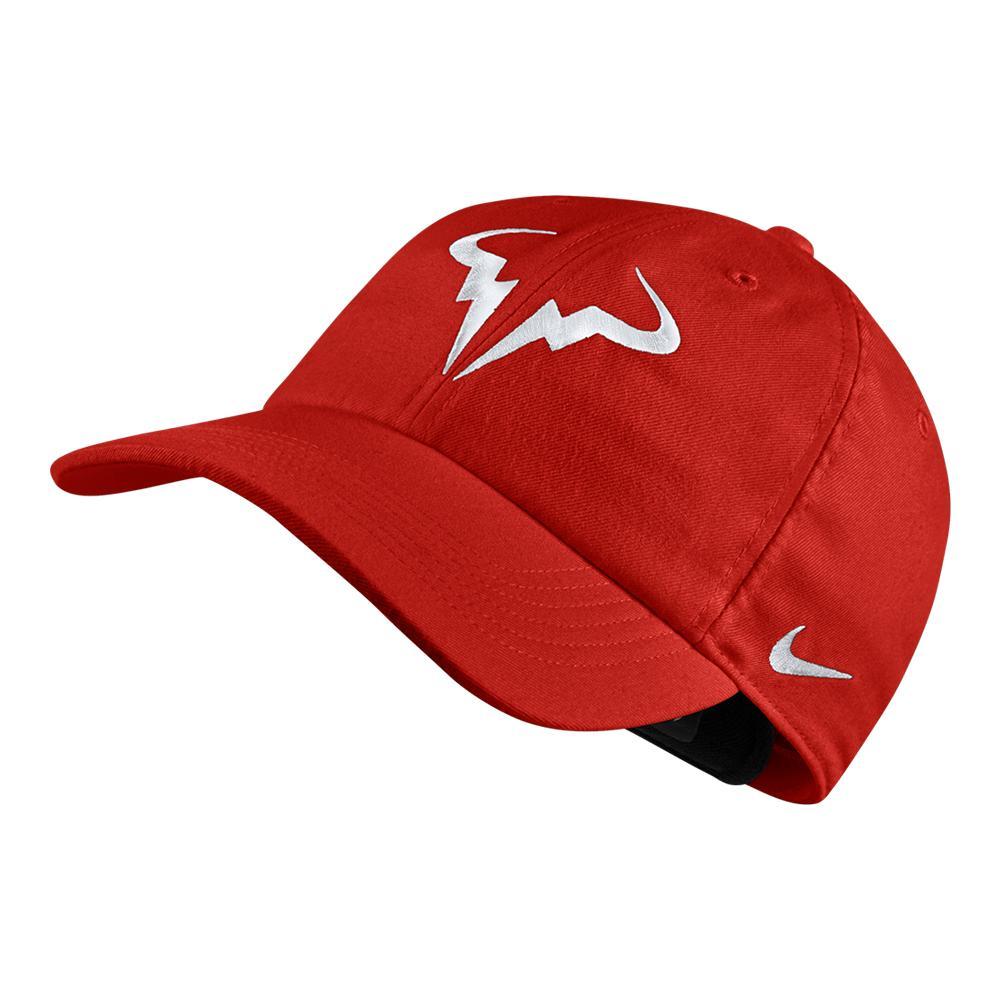 NIKE NIKE Men s Rafa Aerobill H86 Tennis Hat Habanero Red 6bc532e35a1d