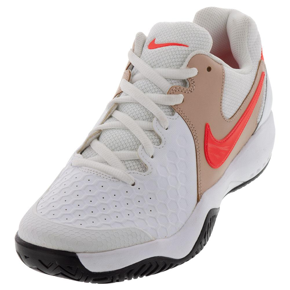 Men's Air Zoom Resistance Tennis Shoes White And Bright Crimson