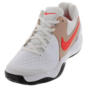 Men`s Air Zoom Resistance Tennis Shoes White and Bright Crimson