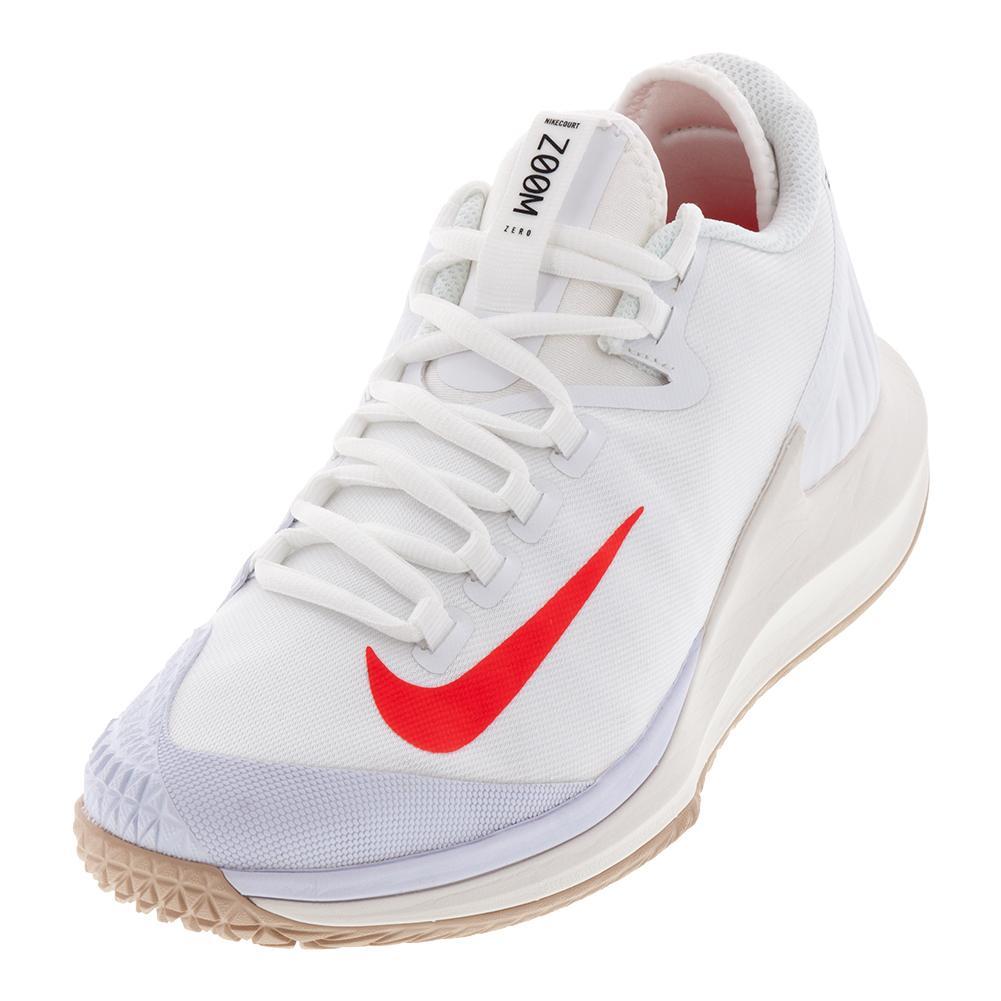 Men's Court Air Zoom Zero Tennis Shoes White And Bright Crimson