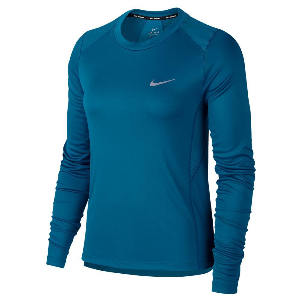 d2da40805e6d8 NIKE NIKE Women s Dry Miler Long Sleeve Running Top Green Abyss