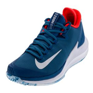 Women`s Court Air Zoom Zero Premium Tennis Shoes Industrial Blue and White