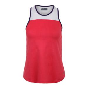 Women`s Prime Tennis Tank Poppy and White