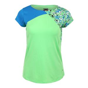 Women`s Painter`s Palette Cap Sleeve Tennis Top Green and Electric Blue
