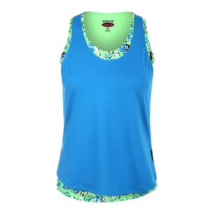 Women`s Painter`s Palette Tennis Tank Electric Blue and Print