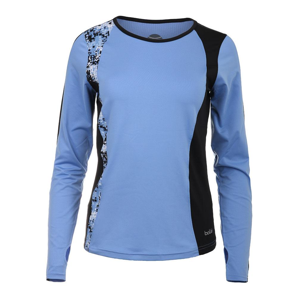 Women's High Resolution Long Sleeve Tennis Top Periwinkle And Black