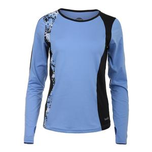 Women`s High Resolution Long Sleeve Tennis Top Periwinkle and Black