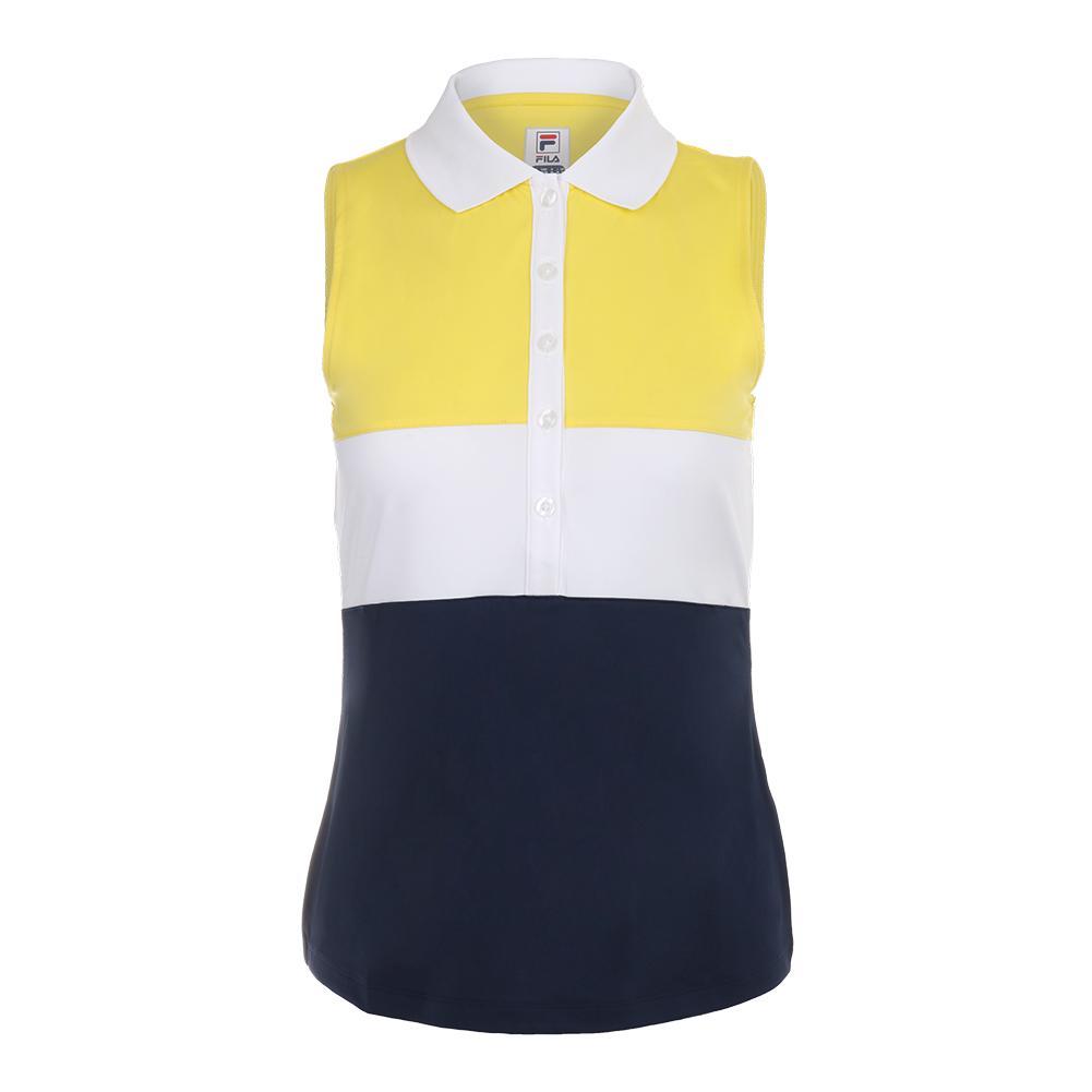 7147eb7039 Women's Argyle Sleeveless Tennis Polo Navy And Aurora