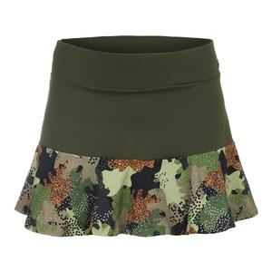 Women`s Camo Half Tennis Skirt Army Green and Print