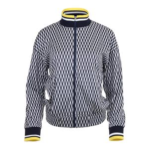 Women`s Argyle Tennis Jacket Navy Print
