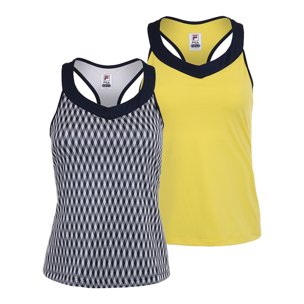 c4ec4032e Details about FILA - Women`s Argyle Racerback Tennis Tank - (TW183X81-F18)