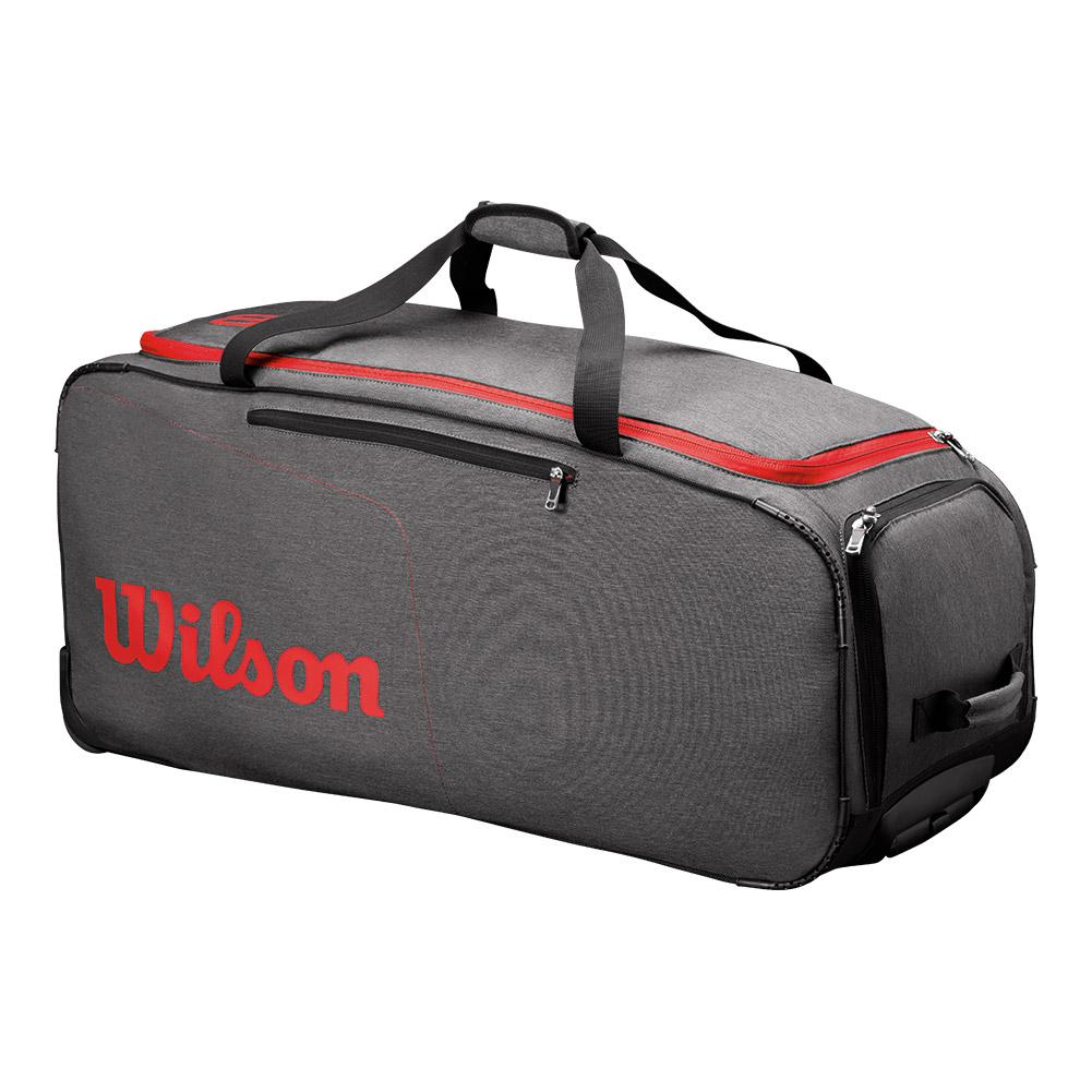 Traveler Wheeled Coach Tennis Duffel Gray And Red