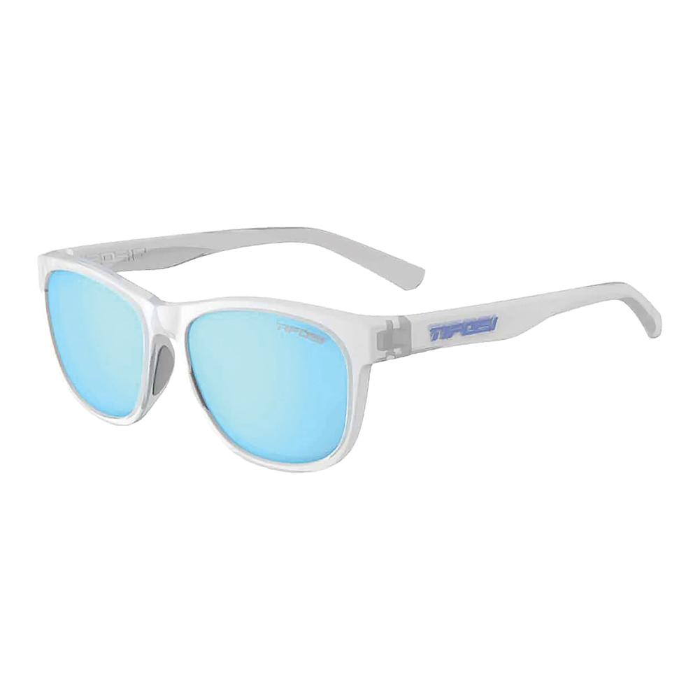 Swank Polarized Sunglasses Satin Clear With Clarion Blue Lenses