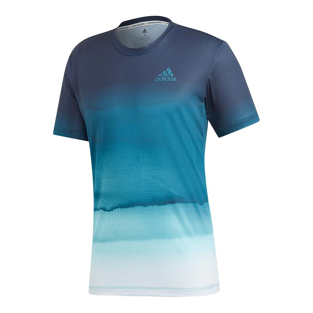 Men's Parley Printed Tennis Top White And Easy Blue