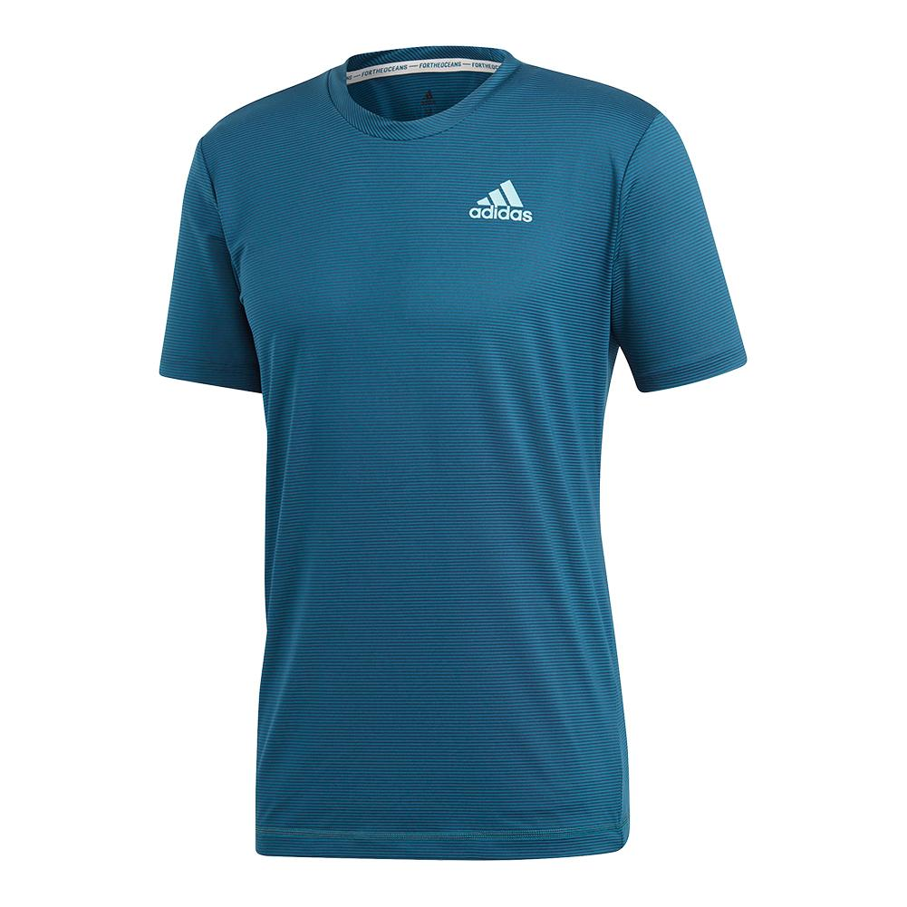 Men's Parley Striped Tennis Top Legend Ink And Petrol Night