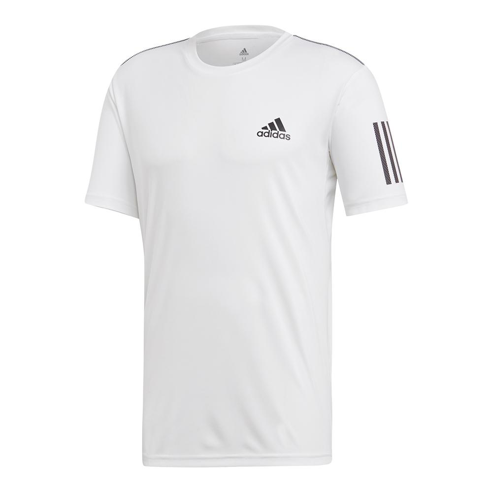 Men's Club 3 Stripes Tennis Top White And Black