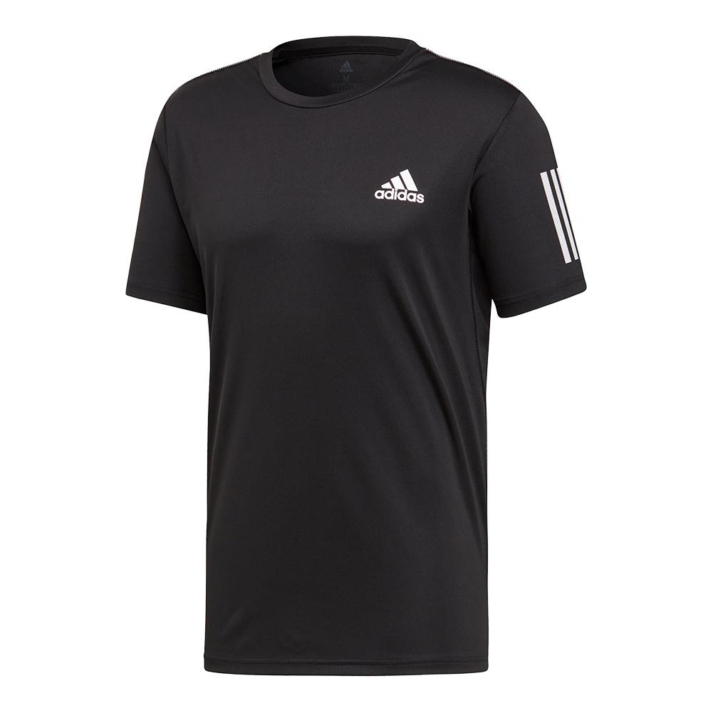 Men's Club 3 Stripes Tennis Top Black And White