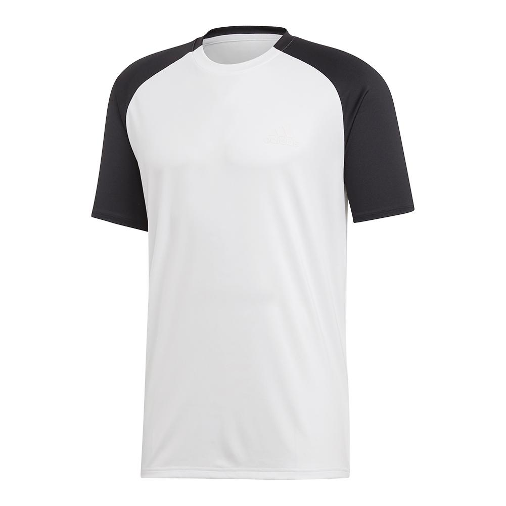 Men's Club Color- Block Tennis Top White And Black