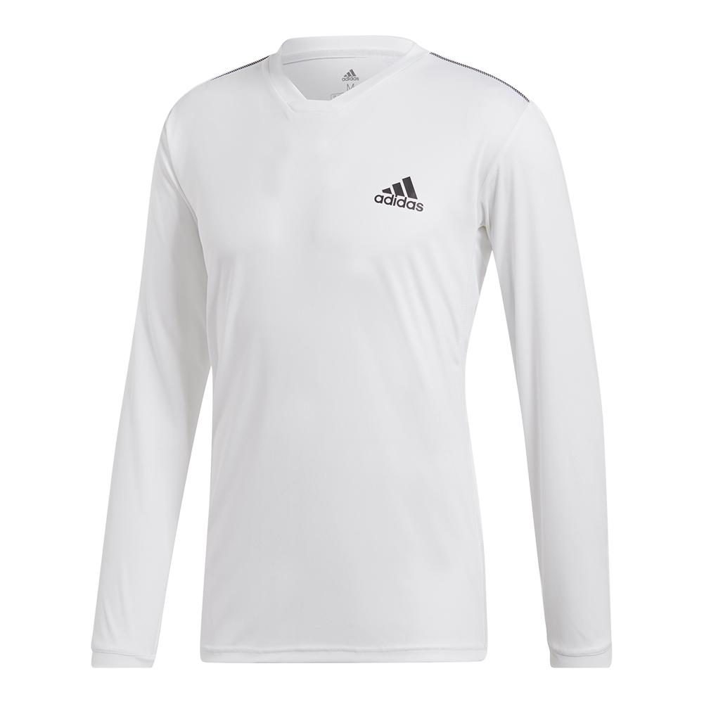 Men's Club Uv Protect Long Sleeve Tennis Top White And Black