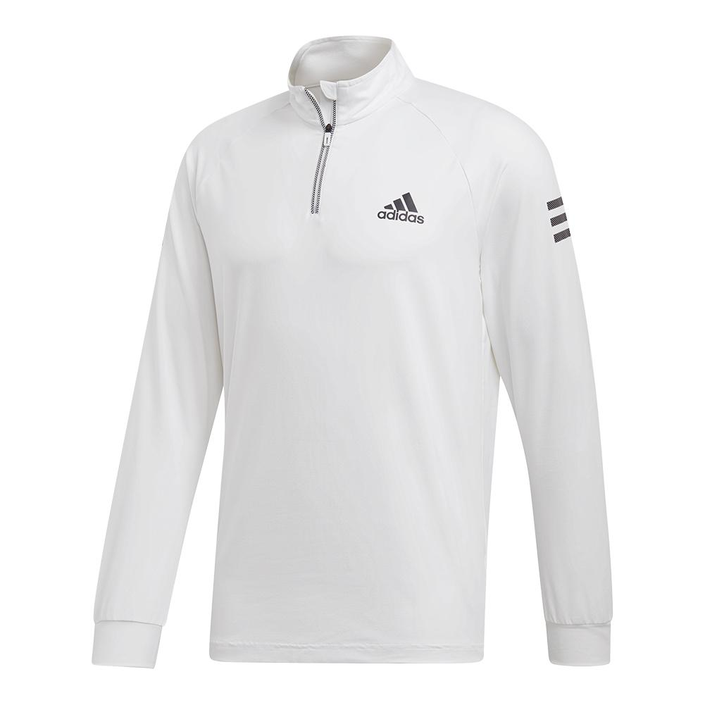 Men's Club 1/4 Zip Midlayer Tennis Top White And Black