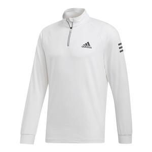Men`s Club 1/4 Zip Midlayer Tennis Top White and Black