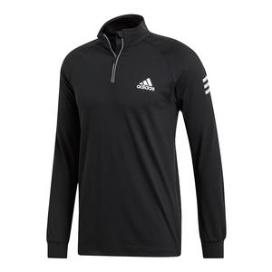 Men`s Club 1/4 Zip Midlayer Tennis Top Black and White