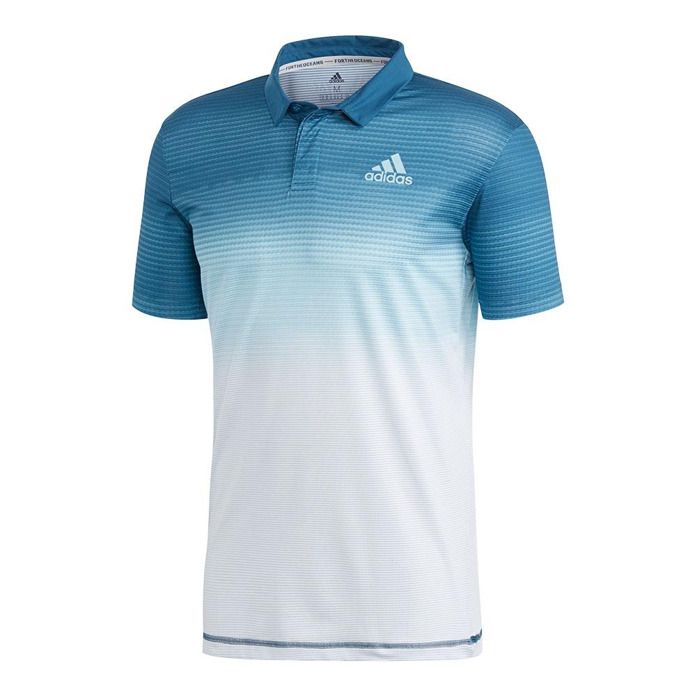 813a39b0 Adidas Men's Parley Tennis Polo White and Easy Blue