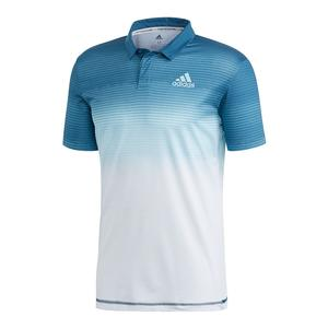Men`s Parley Tennis Polo White and Easy Blue