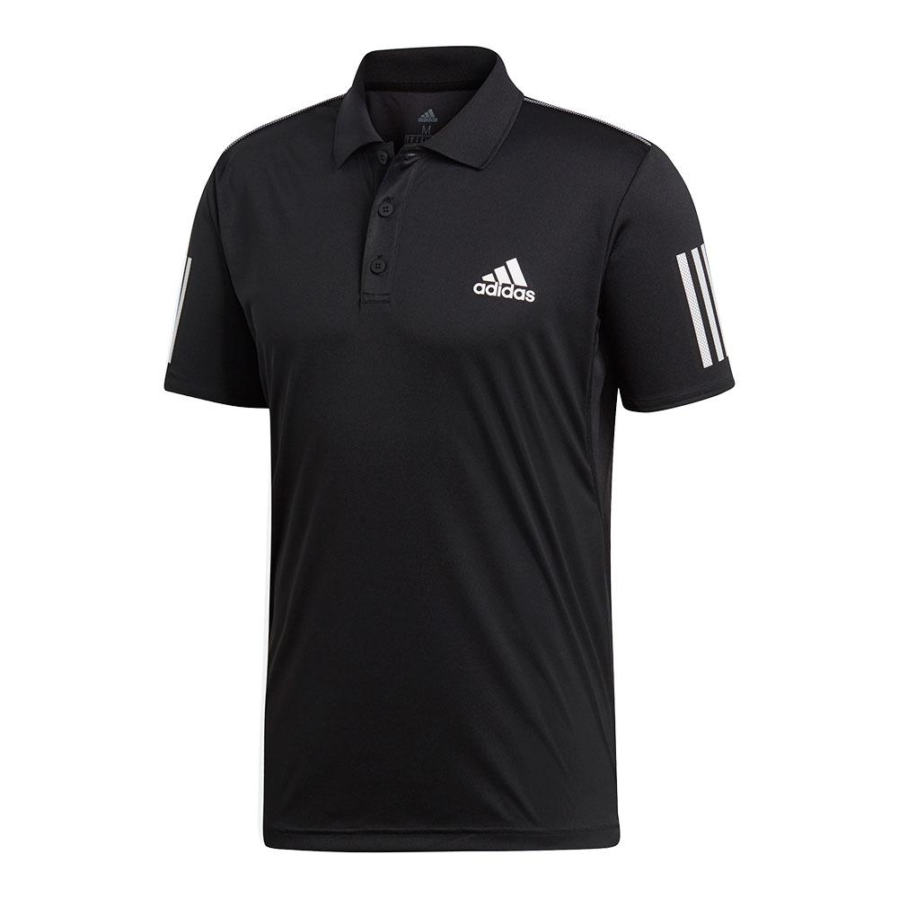 Men's Club 3 Stripes Tennis Polo Black And White