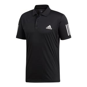Men`s Club 3 Stripes Tennis Polo Black and White