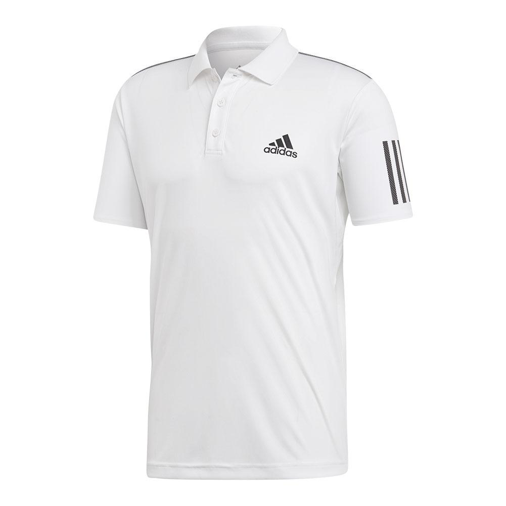 Men's Club 3 Stripes Tennis Polo White And Black
