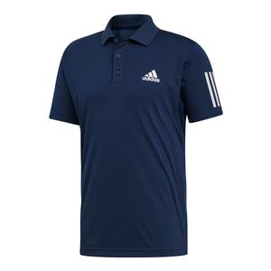 Men`s Club 3 Stripes Tennis Polo Collegiate Navy and White