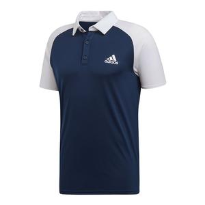 Men`s Club Color-Block Tennis Polo Collegiate Navy and White