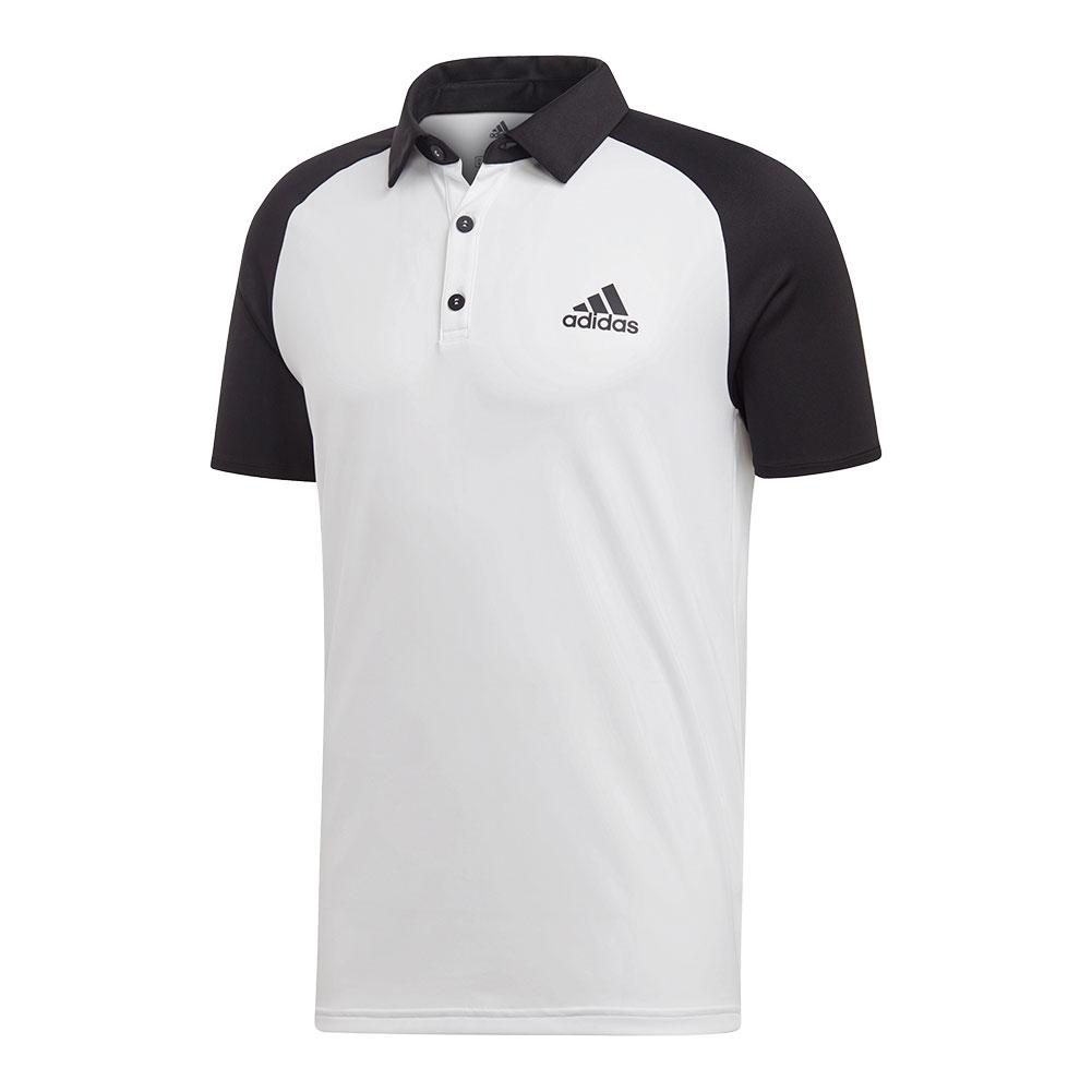 Men's Club Color- Block Tennis Polo White And Black