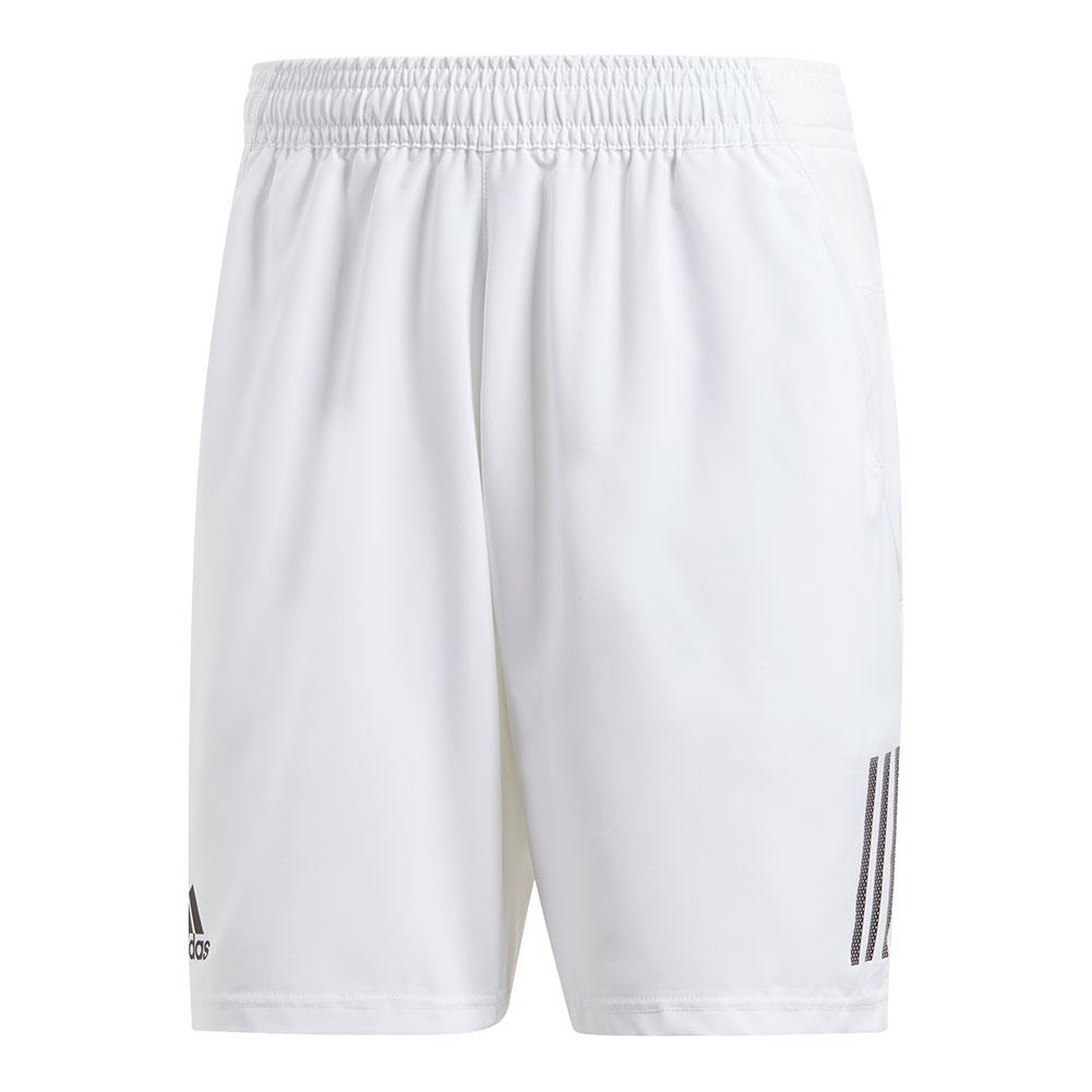 Men's Club 3 Stripes 9 Inch Tennis Short White And Black