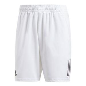 Men`s Club 3 Stripes 9 Inch Tennis Short White and Black