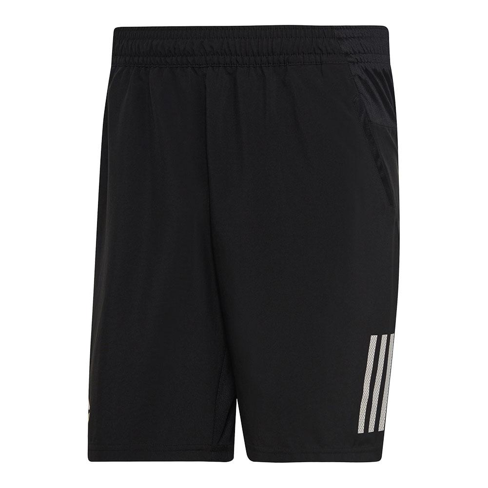 Men's Club 3 Stripes 9 Inch Tennis Short Black And White