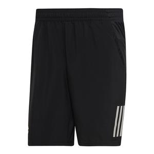 Men`s Club 3 Stripes 9 Inch Tennis Short Black and White