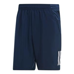 Men`s Club 3 Stripes 9 Inch Tennis Short Collegiate Navy and White