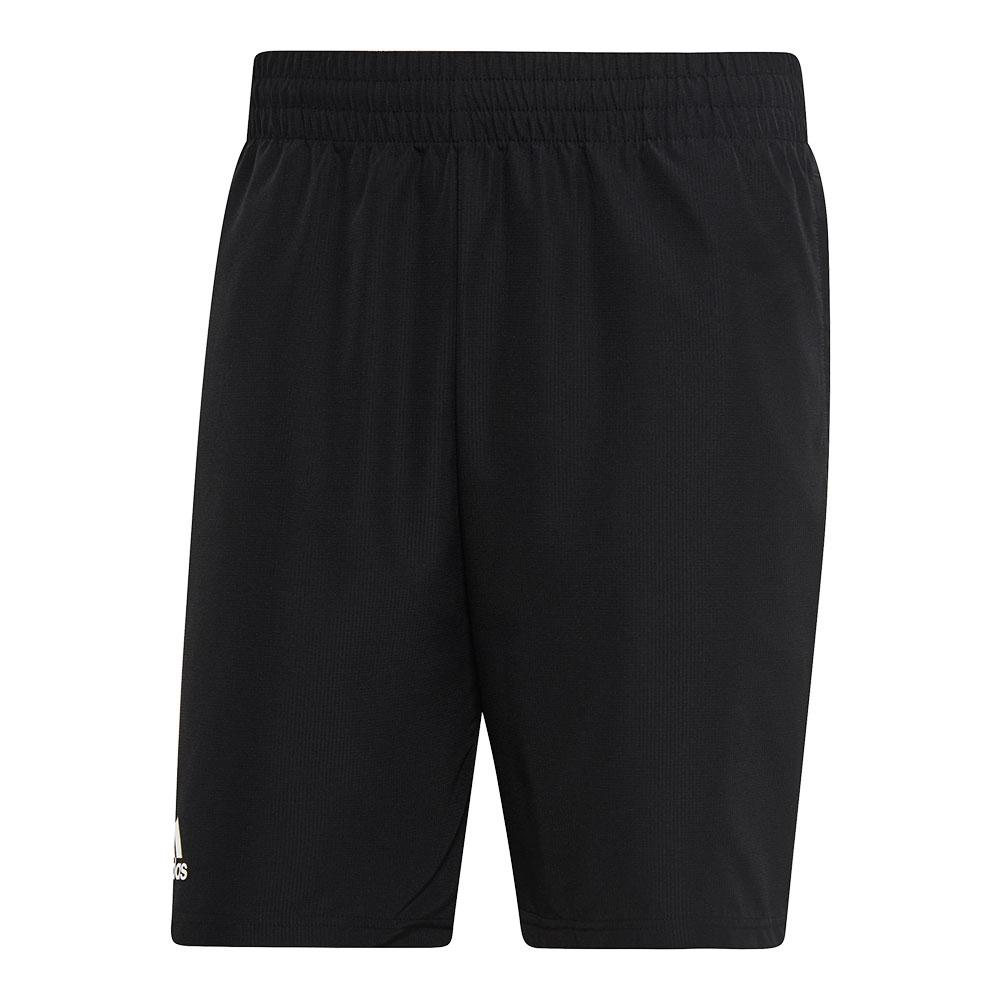 Men's Club 9 Inch Tennis Short Black And White