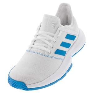 Women`s GameCourt Wide Tennis Shoes White and Shock Cyan